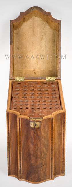 Knife Box, Serpentine Front with Sloping Lid Mahogany and various inlays Late 18th Century, open view