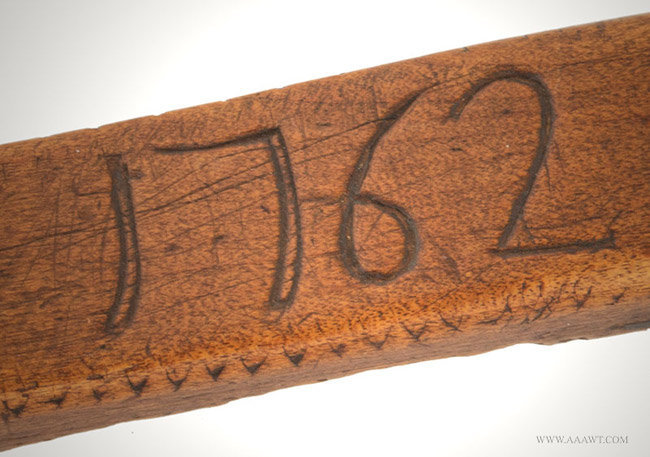 Antique Carved Wooden Knitting Sheath/Needle Holder, English, 1762, date detail