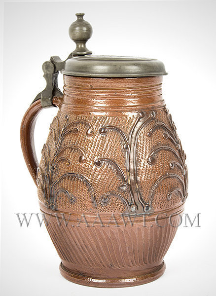 Saltglaze, Brown Stoneware Krug, Pewter Mounted, Made for Farrier, Superb    Muskau, Germany    Lid dated 1786, entire view