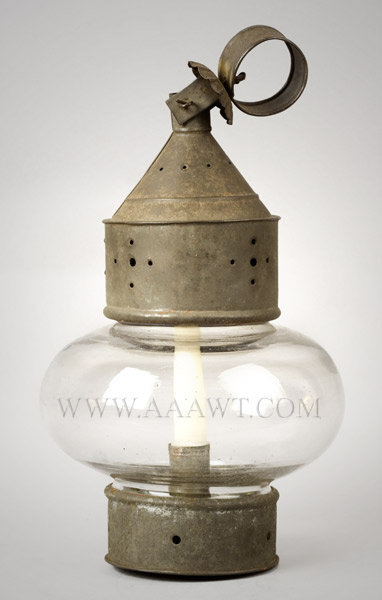 Lantern, Candle, Fixed Blown Clear Glass Onion Globe, Pierced Frame
