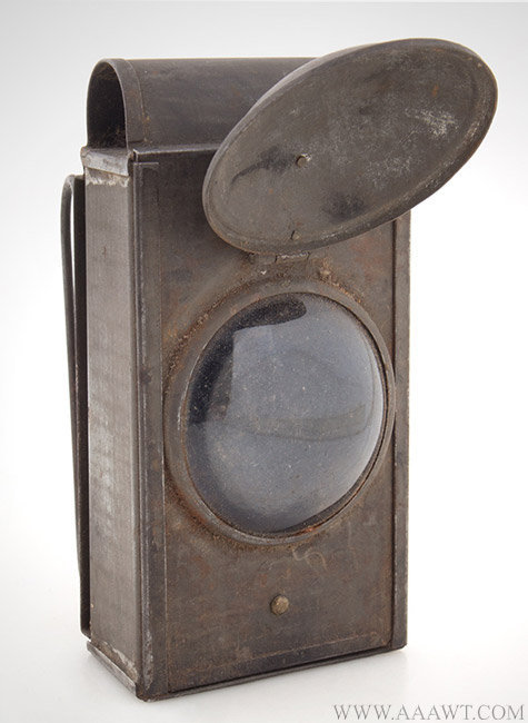 Antique Lens Lantern with Bullseye Magnifying Lense and Lens Cover, 19th Century, open view