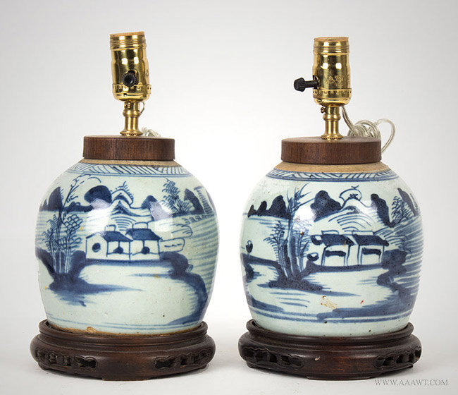 Antique Pair of Blue and White Scenic Canton Ginger Jar Lamps, 19th Century, pair view 1