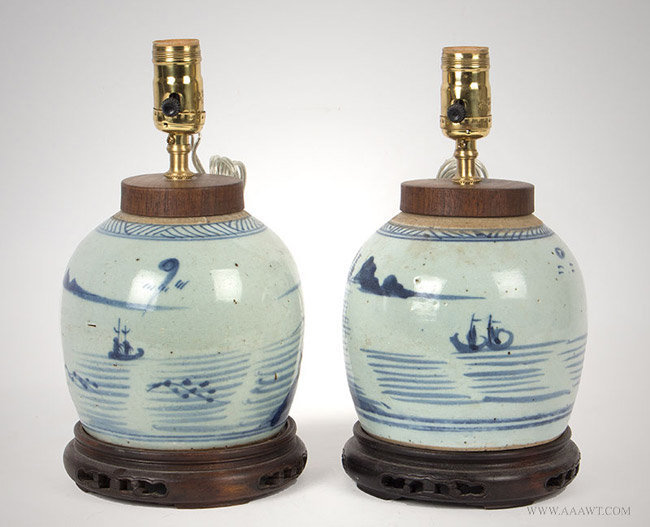 Antique Pair of Blue and White Scenic Canton Ginger Jar Lamps, 19th Century, pair view 2