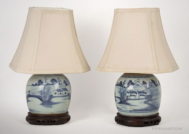 Antique Pair of Blue and White Scenic Canton Ginger Jar Lamps, 19th Century, pair view with shades