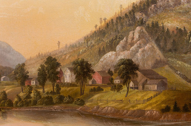 Antique Painting Outdoor Scenic Landscape Western Americana