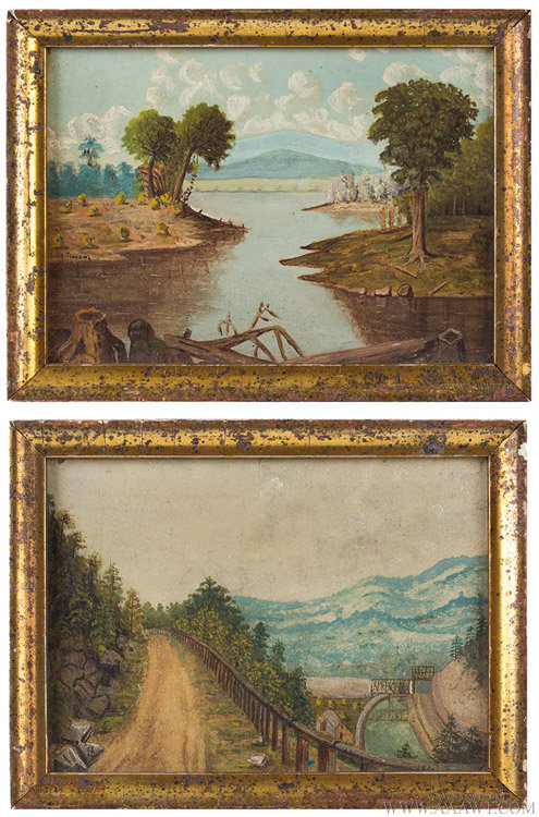 Antique Pair of Small Oil on Paper Landscape Paintings, Late 19th Century, pair view
