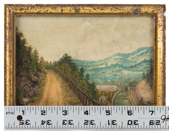 Antique Pair of Small Oil on Paper Landscape Paintings, Late 19th Century, with ruler for scale