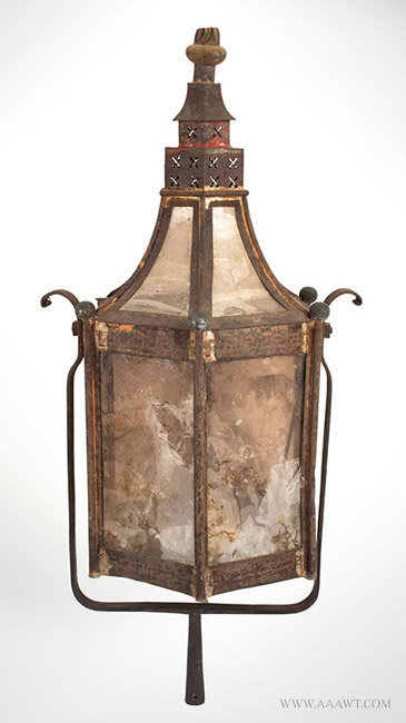 Antique Parade Lamp/Torch Light with Pierced Chimney, Circa 1820's, side 1 view