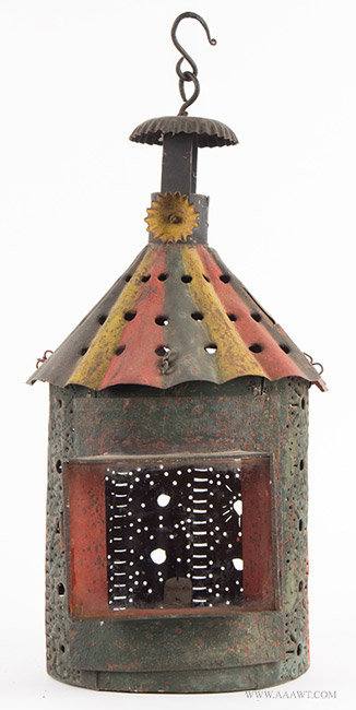 Antique Pierced and Paint Decorated Tin Plate Candle Lantern with Crimped Smoke Bell, entire view