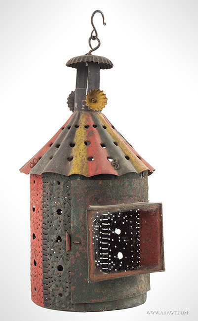 Antique Pierced and Paint Decorated Tin Plate Candle Lantern with Crimped Smoke Bell, angle view