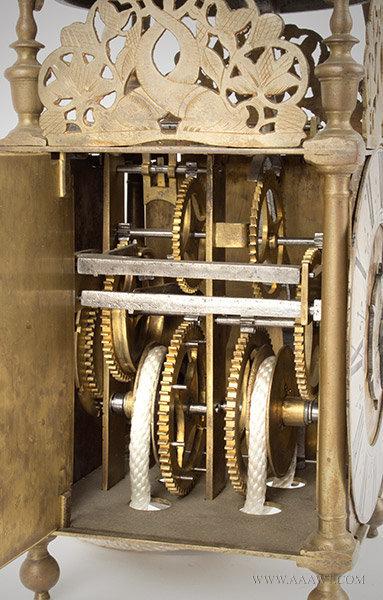Lantern Clock, Thomas Clay, Seventeenth Century Chelmsford, Essex, England; 17th Century, gears detail