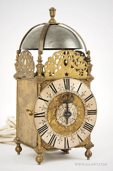 Lantern Clock, Thomas Clay, Seventeenth Century Chelmsford, Essex, England; 17th Century, angle view