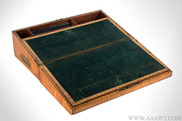 Lap Desk, Tiger Maple, Fitted Interior, Side Drawer, Original Baize  American, 19th Century, entire view