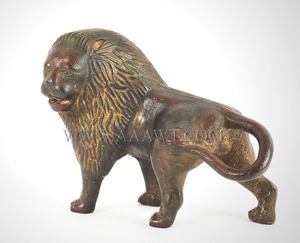 Antique Door Stop, Lion, Cast Iron, Late 19th Century, angle view 1