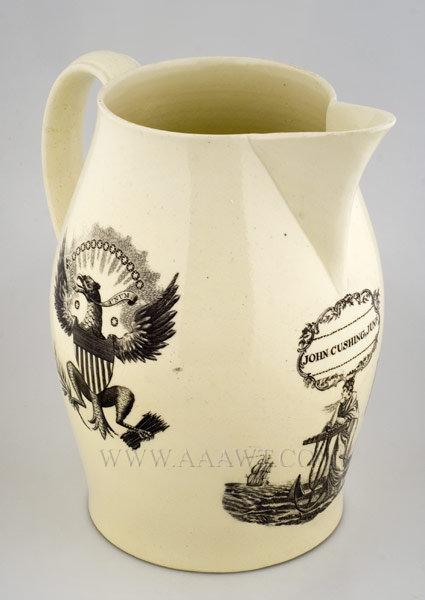 Liverpool Presentation Jug, Pitcher, Ship Joseph    John Cushing Junior    Creamware    Circa 1800, entire view
