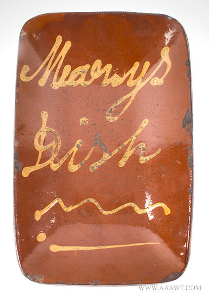 Antique Redware Loaf Pan with Yellow 'Marys Dish' Slip Decoration, Connecticut, Circa 1830 to 1840, entire view