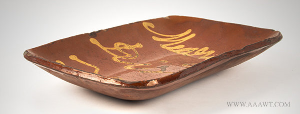 Antique Redware Loaf Pan with Yellow 'Marys Dish' Slip Decoration, Connecticut, Circa 1830 to 1840, side view