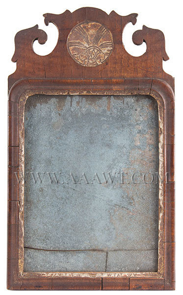 Mirror, Early Carved Queen Anne Looking Glass Untouched Original Condition Probably New England, 18th Century, entire view