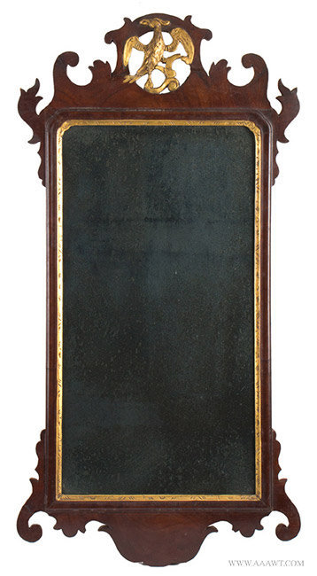 Antique Chippendale Looking Glass with Pierced and Scrolled Crest, 18th Century, entire view