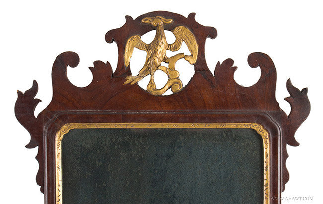 Antique Chippendale Looking Glass with Pierced and Scrolled Crest, 18th Century, crest detail
