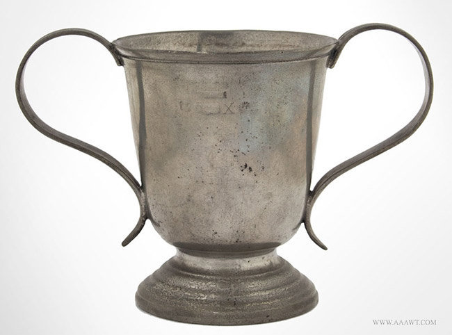 Antique Pewter Half Pint Loving Cup, By Abel Grove, England, entire view