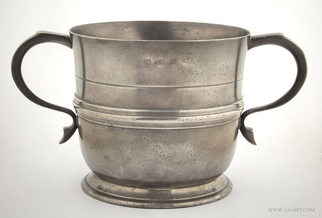 Antique Pewter Loving Cup, By Christopher Baldwin Wigan, England, entire view