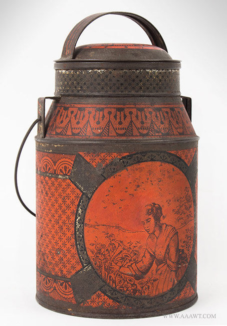 Antique Transfer Decorated Tin Lunch Canister with Bail Handle, Late 19th Century, angle view