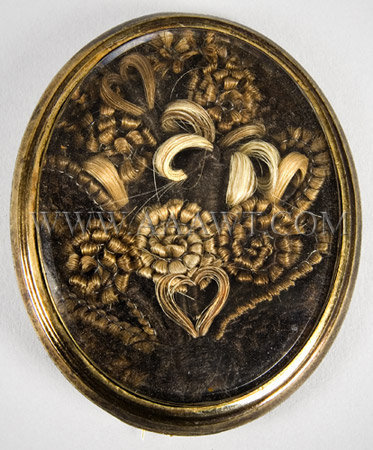 Antique Brooch, Hairwork, Flower and Heart Design, entire view