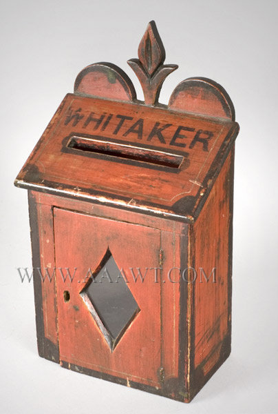 Folk Art Mail Box, Carved and Painted  Late 19th Century, entire view