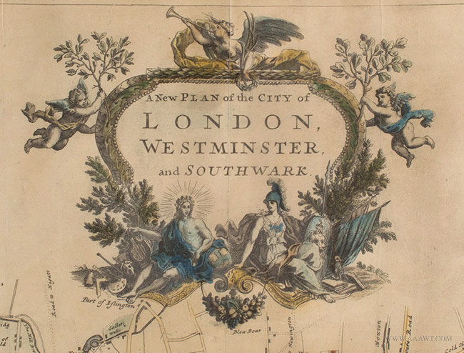 Antique Map of the City of London, with Three Cartouches, John Strype, 1720, cartouche detail 1