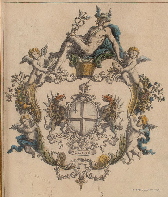 Antique Map of the City of London, with Three Cartouches, John Strype, 1720, cartouche detail 2