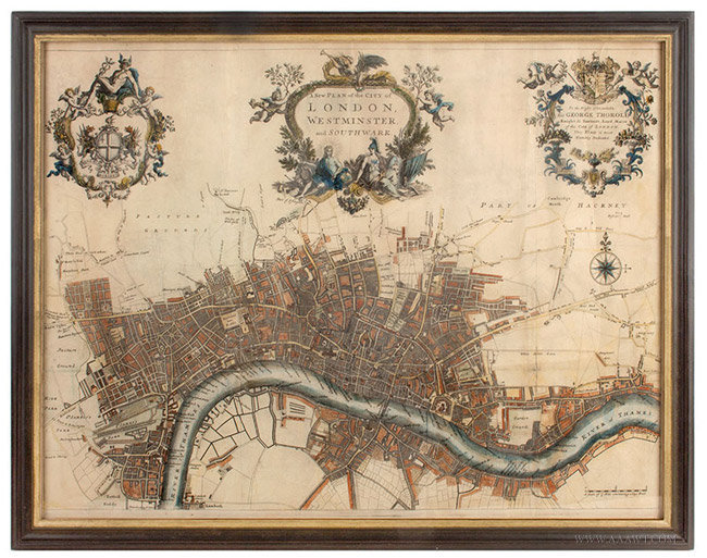 Antique Map of the City of London, with Three Cartouches, John Strype, 1720, entire view