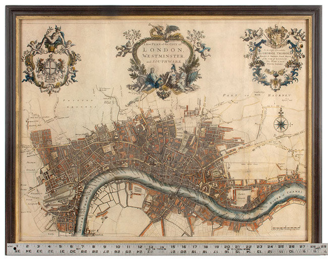 Antique Map of the City of London, with Three Cartouches, John Strype, 1720, with ruler for scale