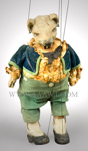 Antique Marionette, Pig Figure, Polychrome, 1st Half 20th Century, close up view