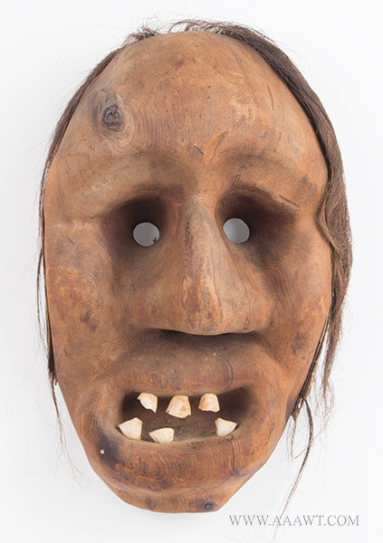 Antique Mask, Native American, Horse Teeth and Hair, entire view