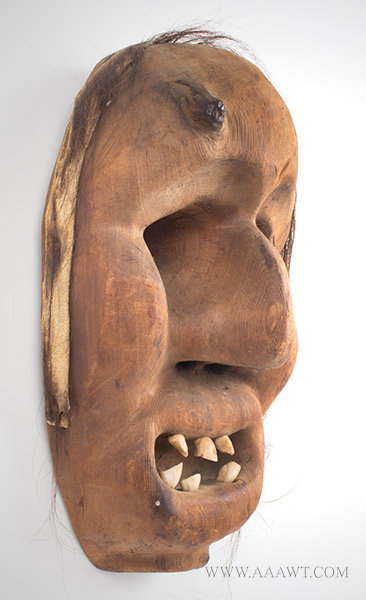 Antique Mask, Native American, Horse Teeth and Hair, right angle view