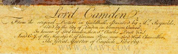 Hogarth Frame, Mezzotint, Lord Camden Eighteenth Century, title detail