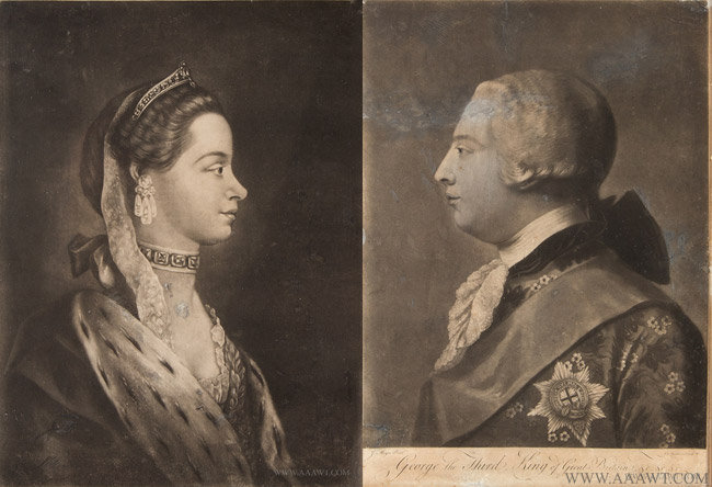Antique Pair of Mezzotint Portraits of George III and His Queen Charlotte, Circa 1760 to 1767, pair view