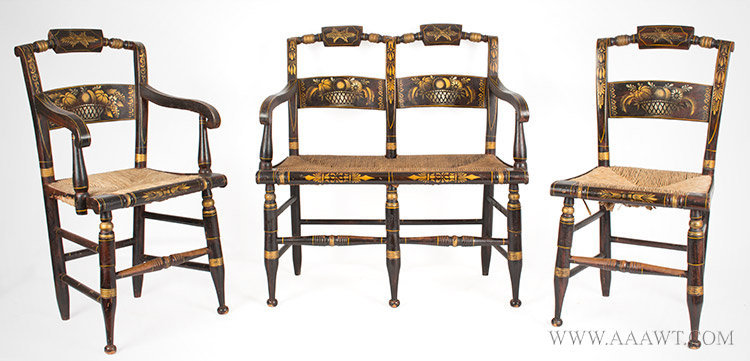 Hitchcock Type Child's Painted Settee, Chair, Armchair, Pillow Top, Cane Seats Likely Connecticut, Circa 1835 to 1840, group view