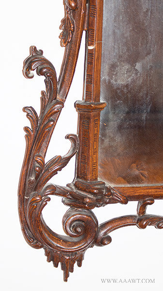 Antique Chinese Chippendale Rococo Mirror, England, 18th Century, carving detail 3