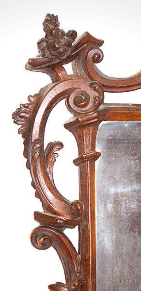 Antique Chinese Chippendale Rococo Mirror, England, 18th Century, carving detail 2