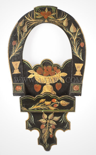 Comb Box Wall Pocket, Folk Art, Original Paint Decoration Pennsylvania Late 19th Century, entire view