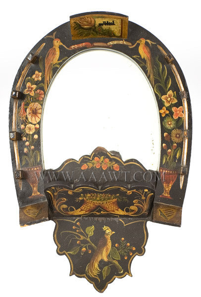Comb Box Wall Pocket, Mirror, Folk Art, Original Paint Decoration Pennsylvania Late 19th Century, entire view