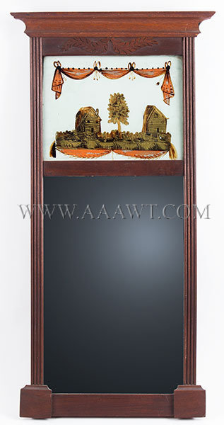 Antique Federal Mirror in Original Surface with Eglomise Decoration, Circa 1810, entire view