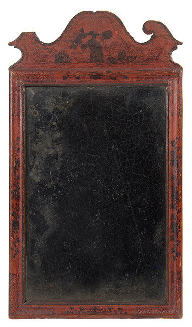 Antique Queen Anne Mirror/Looking Glass in Original Surface, Circa 1730 to 1750, entire view