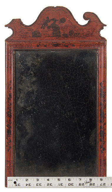 Antique Queen Anne Mirror/Looking Glass in Original Surface, Circa 1730 to 1750, with ruler for scale