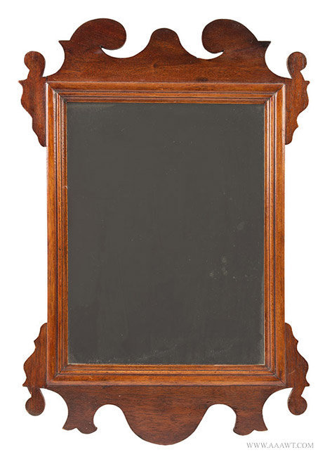 Antique Chippendale Looking Glass with Period Glass in Old Surface, 18th Century, entire view