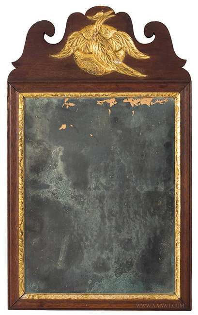 Antique Queen Anne Courting Mirror with High Arching Eagle on Scrolled Crest, 18th Century, entire view
