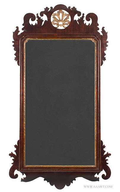 Antique Chippendale Looking Glass with Pierced Crest, England, 18th Century, entire view