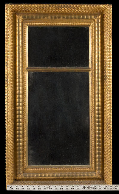 Antique Federal Mirror, Carved and Gilt, 19th Century, with ruler for scale
